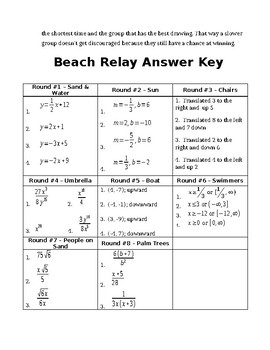 Algebra End of Year Relay Race