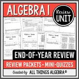 Algebra 1 Review Packets + Editable Quizzes