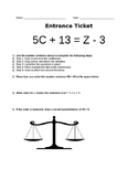 Algebra Entrance Ticket