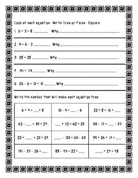Algebra Equalities Worksheets