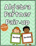 Algebra Equation Partner Pair-up -- Solve for X