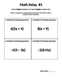 Algebra Equation Review Relay Race