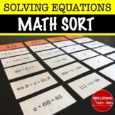 Algebra Equation Sort
