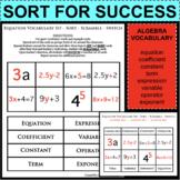 Algebra Equation Vocabulary - Sit Sort Scramble Switch - G