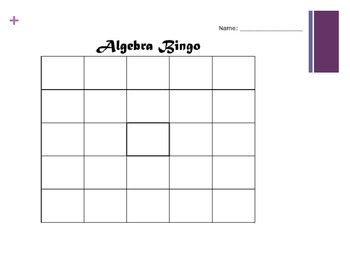 Algebra Equations Bingo