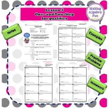 Algebra Equations & Inequalities Lesson Notes Homework Quiz & Test