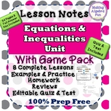 Algebra Equations & Inequalities Unit with Game Pack