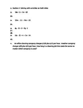 Algebra Equations Quiz Review