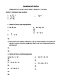 Algebra Equations Quiz Review