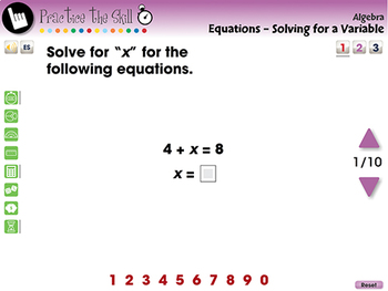 Algebra: Equations - Solving for a Variable - Practice the Skill 1 - MAC Gr. 3-5