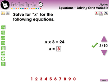 Algebra: Equations - Solving for a Variable - Practice the Skill 2 - MAC Gr. 3-5