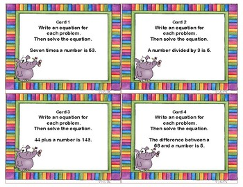 Algebra-Equations-Write and Solve the Equations-32 Task Cards