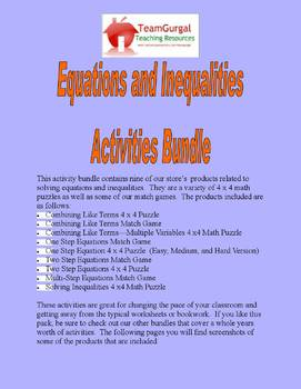 Algebra - Equations and Inequalities Activities Bundle