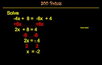 Algebra Equations and Inequalities SmartBoard Jeopardy