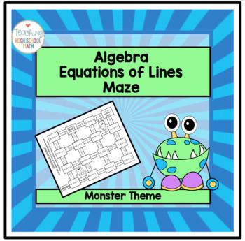 Algebra Equations of Lines Maze (Monster Theme)
