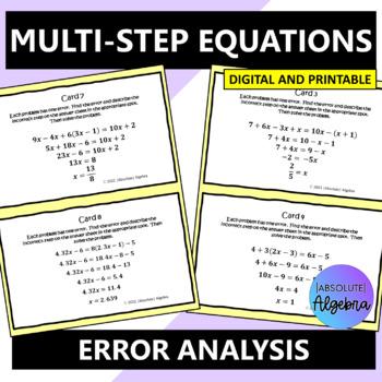 Solving Multi-Step Equations:  Error Analysis