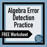 Algebra Error Detection Practice Worksheet