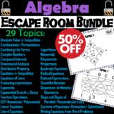 Algebra Escape Room Math Bundle: Polynomials, Distributive Property, Slope, etc.