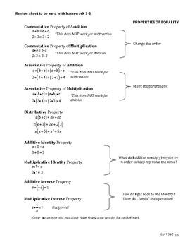 Algebra Essentials Mini-Unit - Notes & Homework