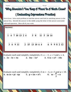 Evaluating Expressions Practice Riddle Worksheet
