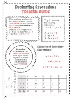 Algebra Evaluating Expressions (Substitution)- Notes, Doodle, Organize