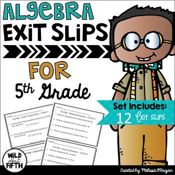 Algebra Exit Slips - 5th Grade