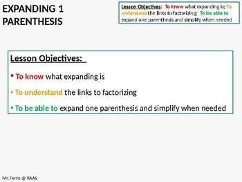 Algebra: Expanding Single Parenthesis (ideal for grades 6-10)