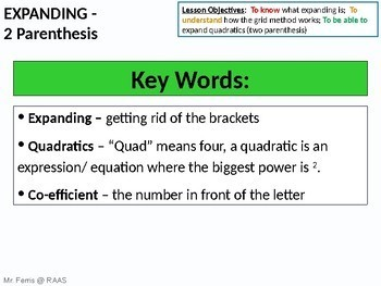Algebra: Expanding double parenthesis (quadratics) - ideal for Grades 6 - 11