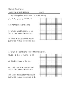 Algebra Exploration for Horizontal and Vertical Lines