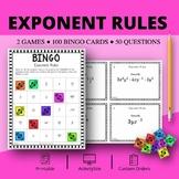 Algebra: Exponent Rules Math Bingo Review Game