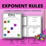 Algebra: Simplifying Exponent Rules Bingo Review Game