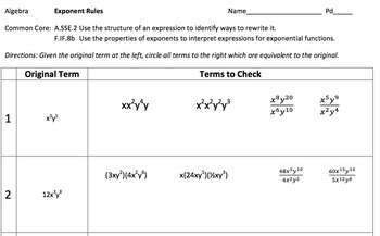 Algebra Exponent Rules Worksheet: Check all that apply