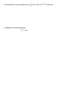 Algebra Exponent equations