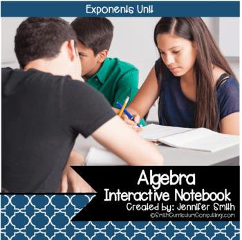 Algebra Exponents Interactive Notebook Unit