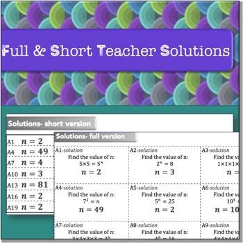 Exponents (Algebra: TEAM CHALLENGE task cards)