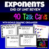 Algebra Exponents 40 Task Cards plus Graphic Organizer