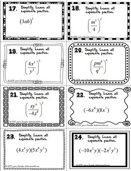 Laws of Exponents 40 Task Cards plus Graphic Organizer