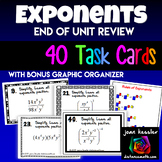 Exponent Rules 40 Task Cards plus Graphic Organizer
