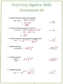 Algebra Exponents and Polynomials Skills Assessment (Test)