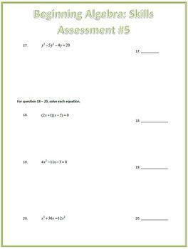 Algebra Factoring Skills Assessment (Test)