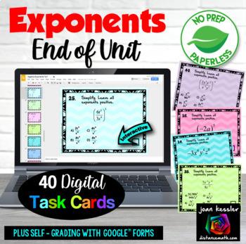 Algebra Exponents GOOGLE Slides Digital Interactive Task Cards
