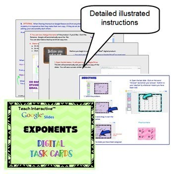 Algebra Laws of Exponents with GOOGLE Slides™ Digital Interactive Task Cards