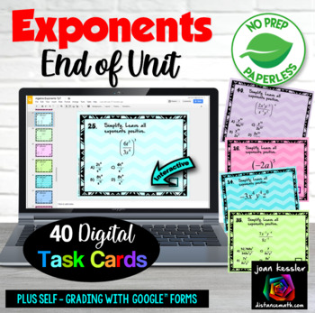 Exponents Rules with GOOGLE Slides™ Digital Interactive Task Cards