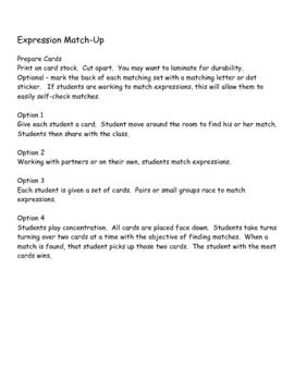 Algebra Expression Matching Game