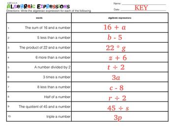 Algebra Expressions (6.EE.A.2.A)