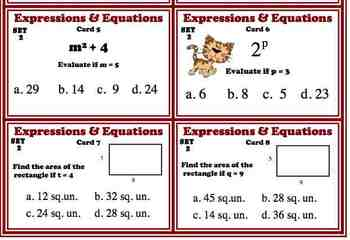 Algebra Expressions Equations Task Card BUNDLE Common Core 6.EE.2