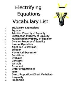 Algebra - Expressions & Equations Vocabulary List