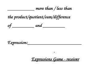 Algebra Expressions Game