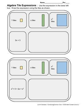 Algebra Expressions Organizer