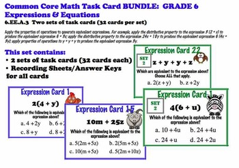 Algebra Expressions Task Card BUNDLE 6.EE.A3 Common Core Grade 6